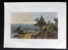 Picturesque America 1873 Hand Col Print. On the Beverly Coast, Massachusetts